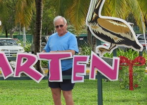 "St Maarten. ""Chillin' on the island. We met mystery writer Cathy Ace on the cruise ship. We talked writing and publishing all day while sipping fancy colored drinks on the fantail deck. She was so, so accommodating in sharing her publishing experiences."""